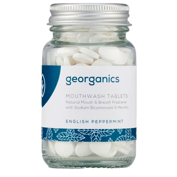 Georganics mouthwash tablets in plastic-free packaging